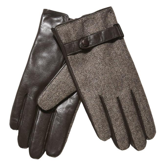 Pánske rukavice s remienkom bata, hnedá, 909-4297 - 13