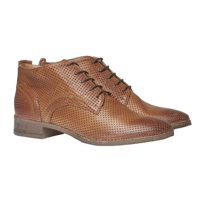 Dámske kožené členkové topánky bata, hnedá, 524-3468 - 26
