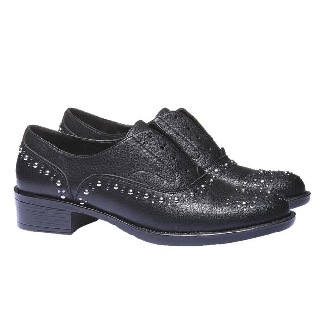 Dámské Slip-on s kovovými cvočkami bata, čierna, 511-6161 - 26