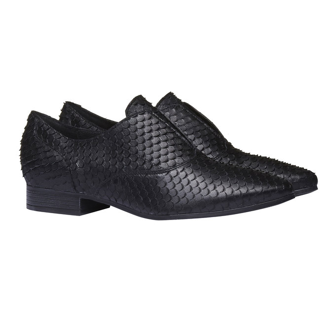 Dámske kožené poltopánky bata, čierna, 514-6212 - 26