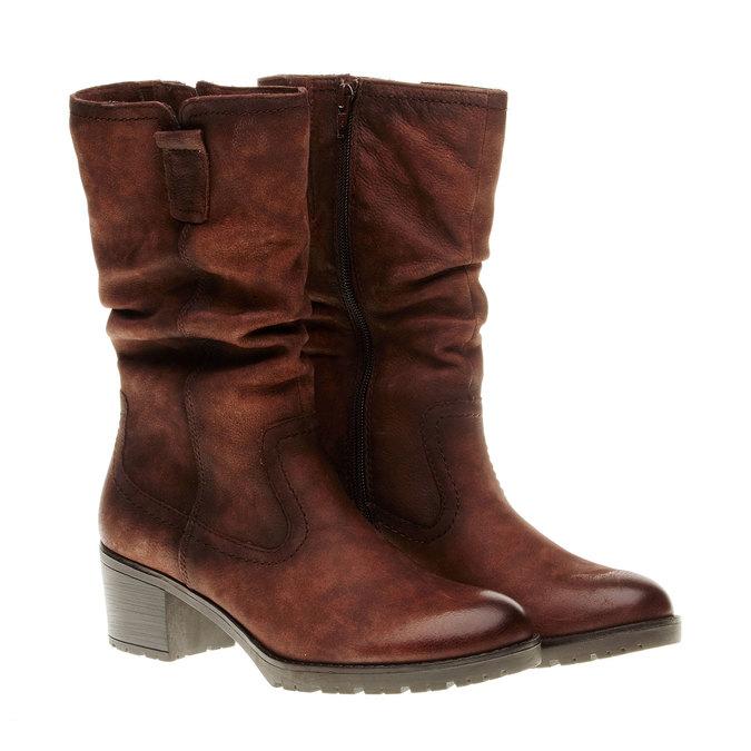 Kožené čižmy na stabilnom podpätku bata, hnedá, 696-4127 - 26