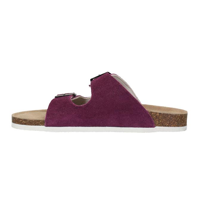 Dámske kožené papuče de-fonseca, fialová, 573-5620 - 26