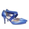 Elegantná kožená remienková obuv bata, modrá, 724-9648 - 26