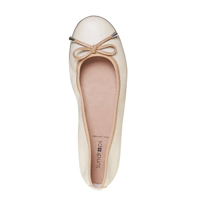 Dámske kožené baleríny bata, béžová, 524-8485 - 19