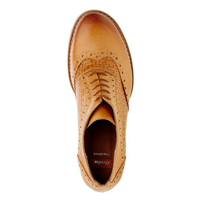 Kožené poltopánky na podpätku bata, hnedá, 624-3386 - 19