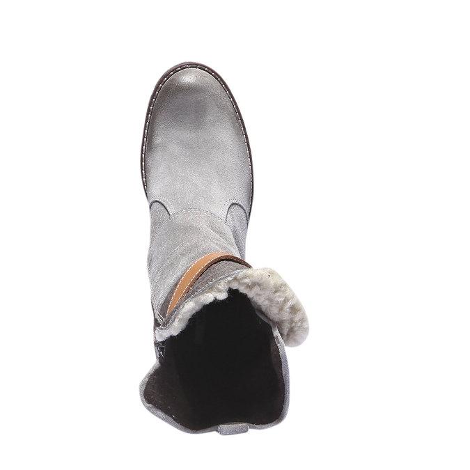 Kožené čižmy s remienkom bata, šedá, 693-2143 - 19