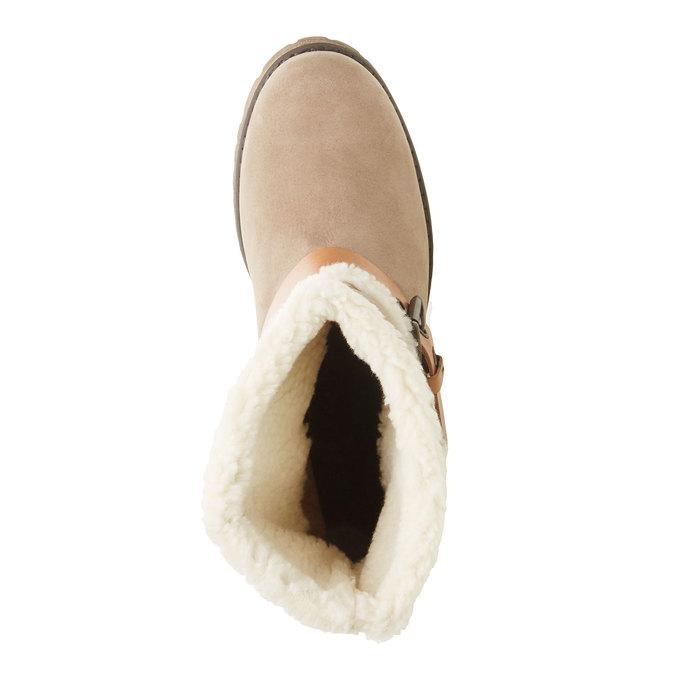 Kožená členková obuv s kožušinou weinbrenner, šedá, 696-2169 - 19