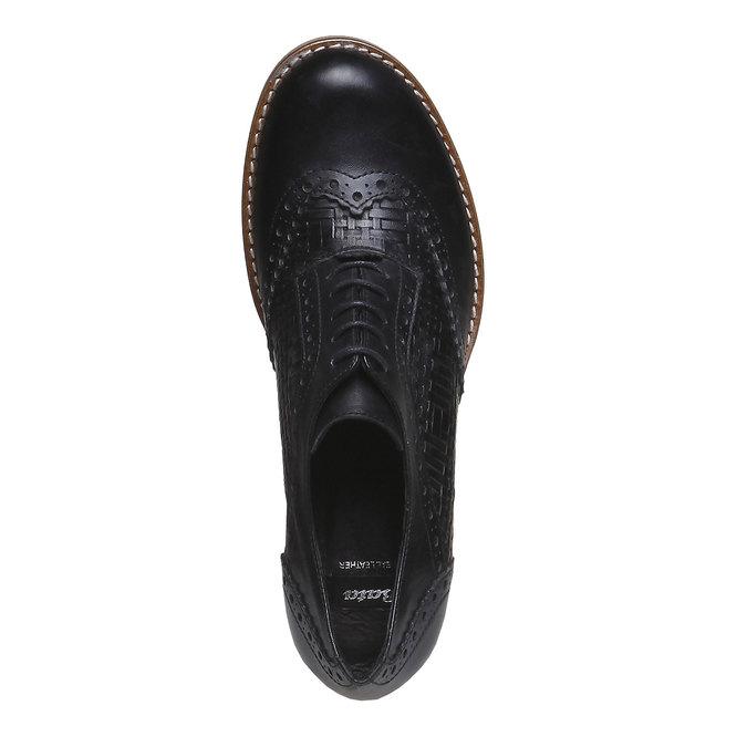 Kožené poltopánky na podpätku bata, čierna, 624-6386 - 19