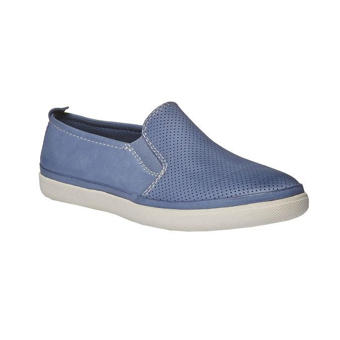Kožené Plim Soll topánky s perforáciou bata, modrá, 514-9197 - 13
