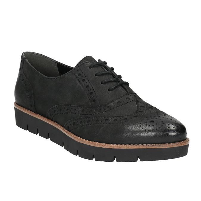 Dámske kožené poltopánky bata, čierna, 526-6600 - 13
