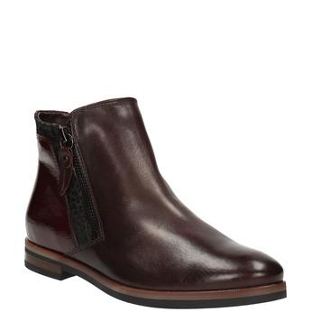 Kožená členková obuv so zipsami bata, červená, 596-5605 - 13