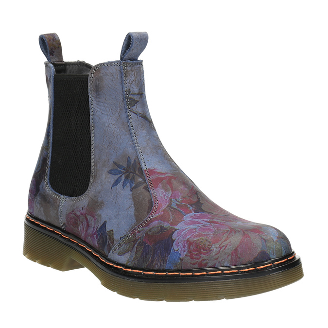 Kožené Chelsea Boots s kvetinovým vzorom bata, modrá, 596-9620 - 13