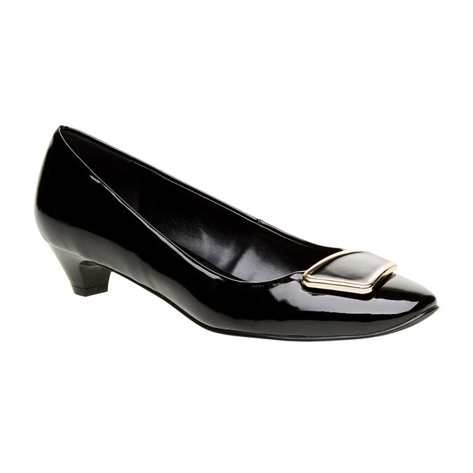 Dámske lodičky na nízkom podpätku bata, čierna, 621-6201 - 13