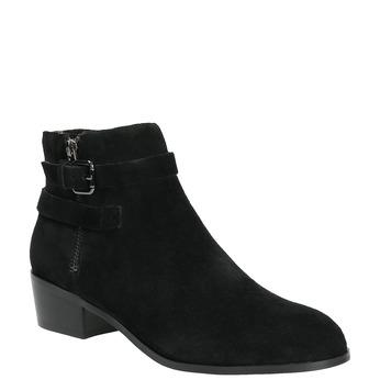 Ćlenková obuv z brúsenej kože bata, čierna, 693-6600 - 13