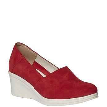 Kožené lodičky na klinovom podpätku bata-touch-me, červená, 613-5110 - 13