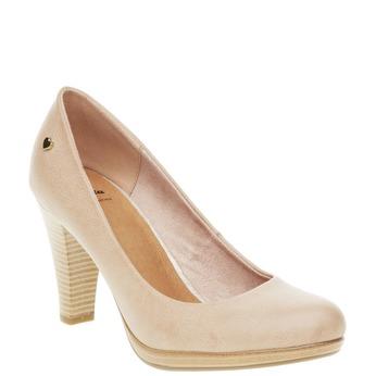 Lodičky na širokom podpätku bata, béžová, 721-5946 - 13