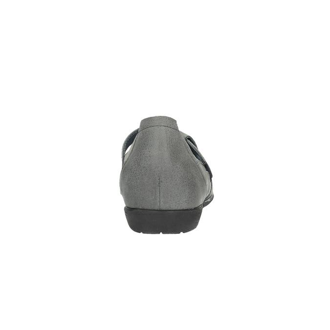 Kožené baleríny s remienkom cez priehlavok bata, šedá, 524-2497 - 17