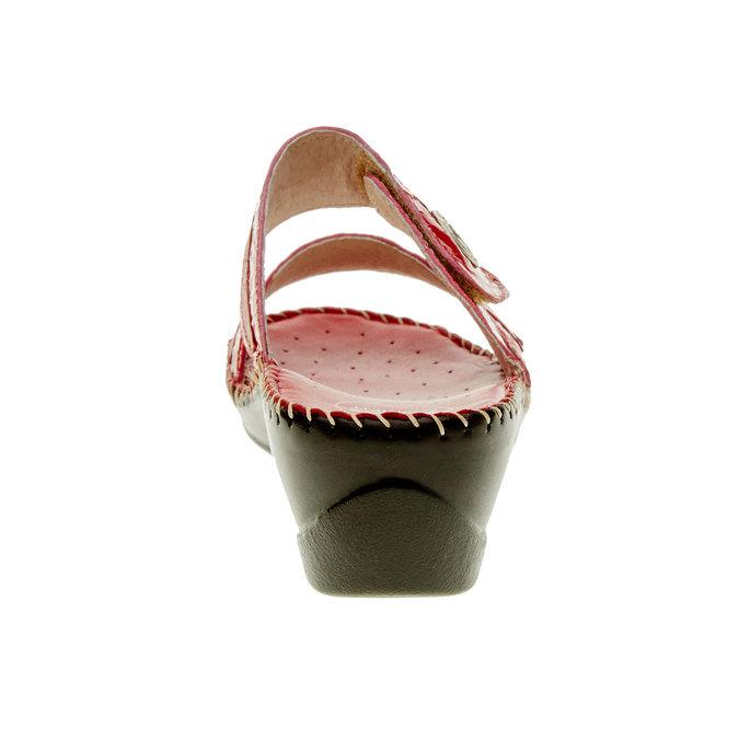 Dámske papuče na klinovom podpätku comfit, červená, 674-5249 - 17