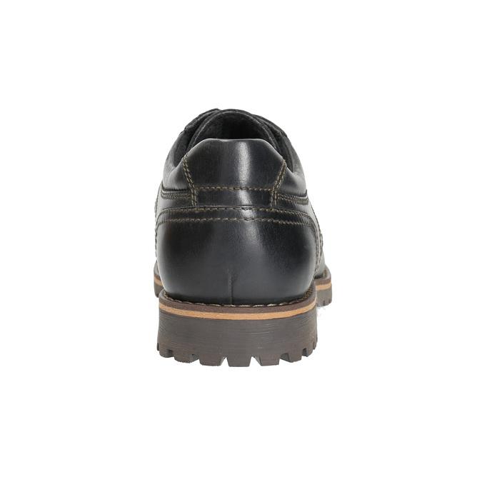 Kožené poltopánky s prešitím na špičke bata, čierna, 826-6640 - 17