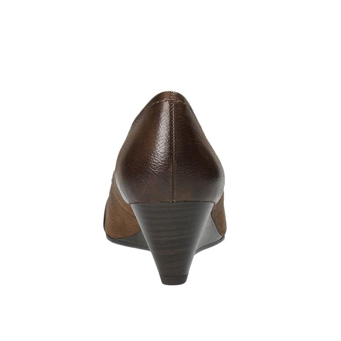 Kožené lodičky na klinovom podpätku bata, hnedá, 626-4603 - 17