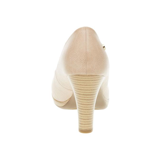 Lodičky na širokom podpätku bata, béžová, 721-5946 - 17