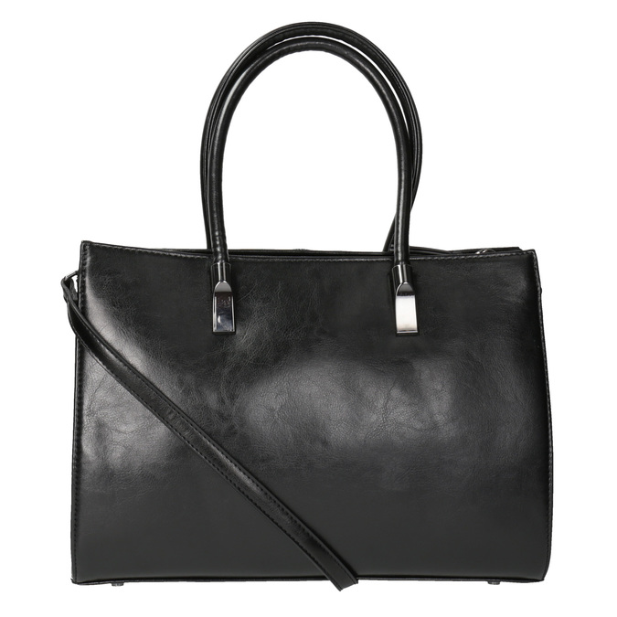 Čierna kabelka s pevným dnom bata, čierna, 961-6879 - 26