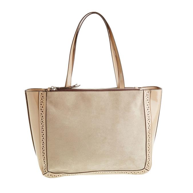 Dámska kabelka s lesklými prvkami bata, béžová, 969-8315 - 26