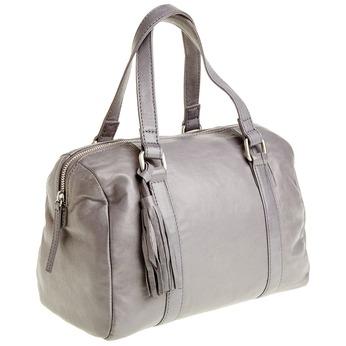 Kožená kabelka so strapcom bata, šedá, 964-2190 - 13