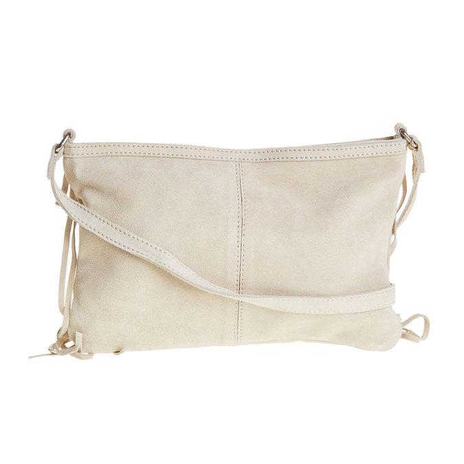 Kožená Crossbody kabelka so strapcami bata, béžová, 963-8120 - 26
