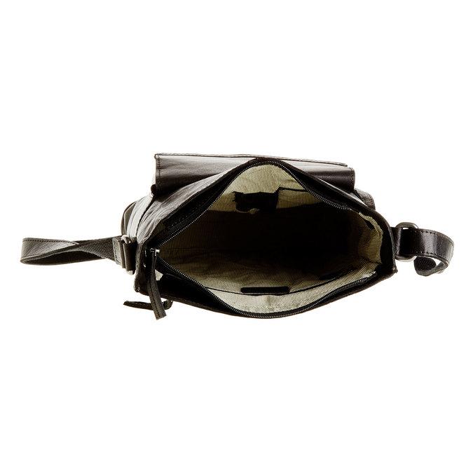 Pánska kožená  Crossbody taška bata, čierna, 964-6141 - 15