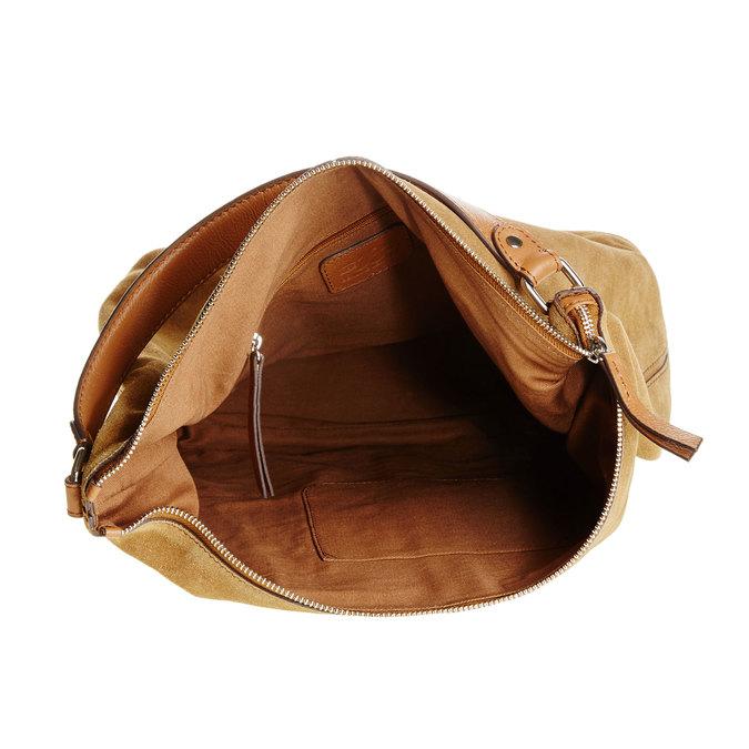Kožená kabelka v Hobo štýle bata, hnedá, 963-3129 - 15