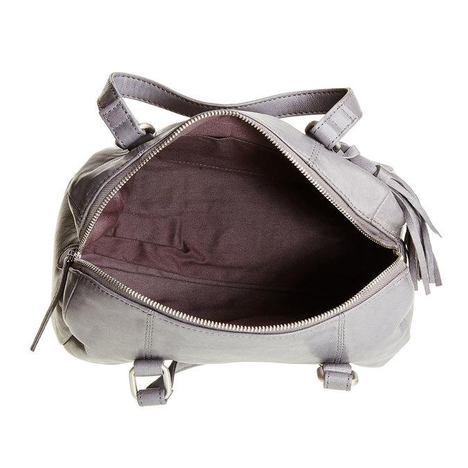 Kožená kabelka so strapcom bata, šedá, 964-2190 - 15