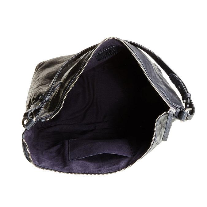Kožená kabelka v Hobo štýle bata, modrá, 964-9192 - 15