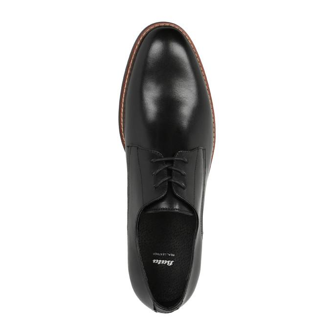 Čierne kožené poltopánky s výrazným obšitím bata, čierna, 824-6684 - 19