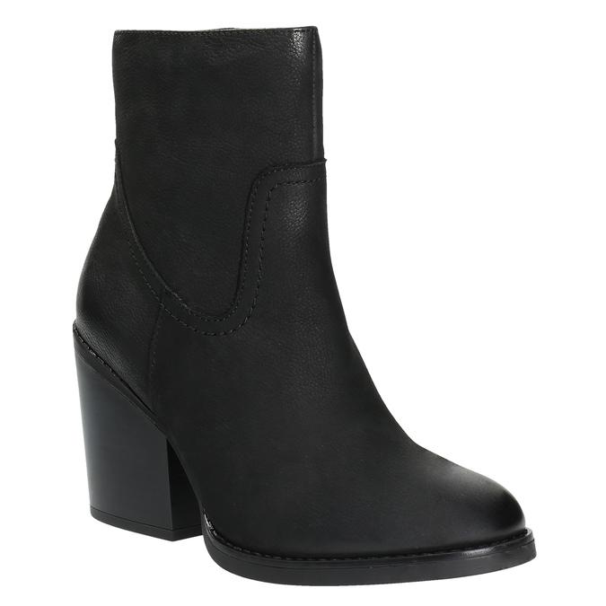 Kožená členková obuv na širokom podpätku bata, čierna, 696-6612 - 13