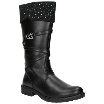 Dievčenské čižmy s kamienkami mini-b, čierna, 391-6601 - 13