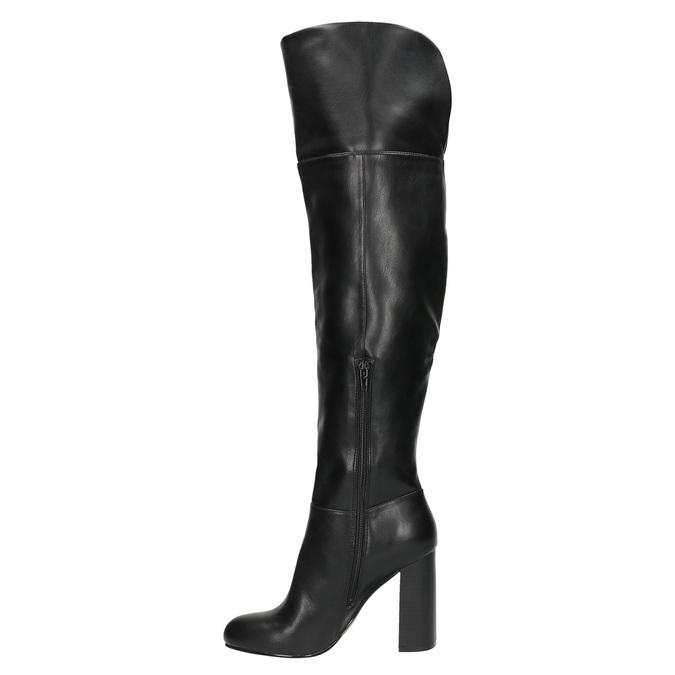 Čižmy nad kolená na podpätku bata, čierna, 791-6609 - 19