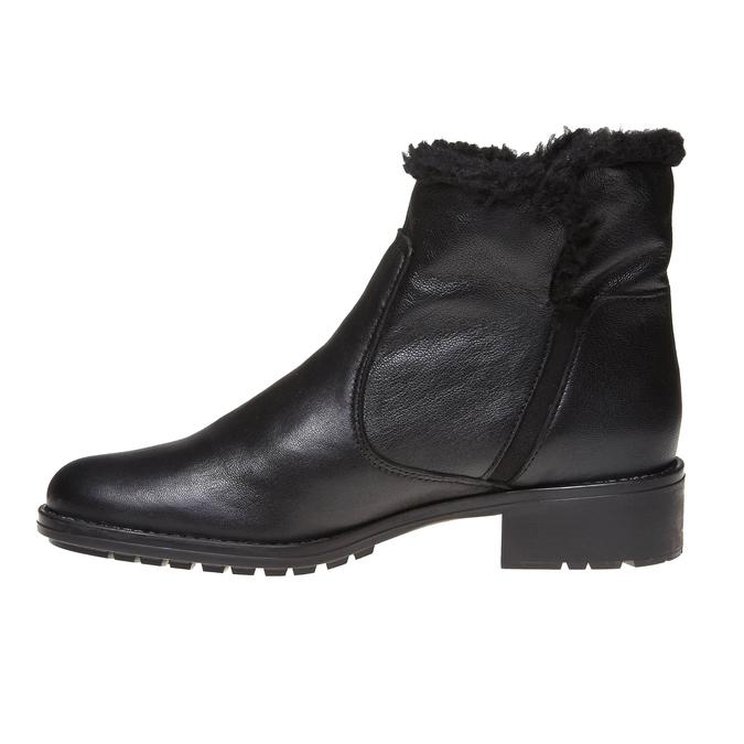 Genie - členková obuv s kožušinkou bata, čierna, 594-6506 - 15