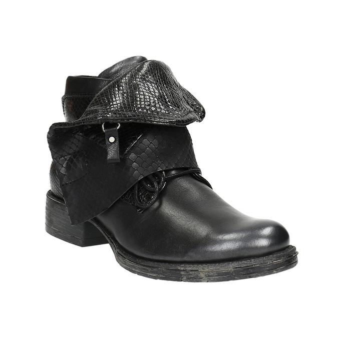 Kožená členková obuv so širokým lemom bata, čierna, 596-6617 - 13