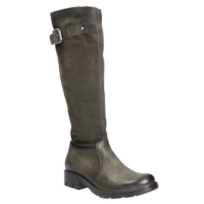 Kožené čižmy na výraznej podrážke bata, hnedá, 596-4618 - 13