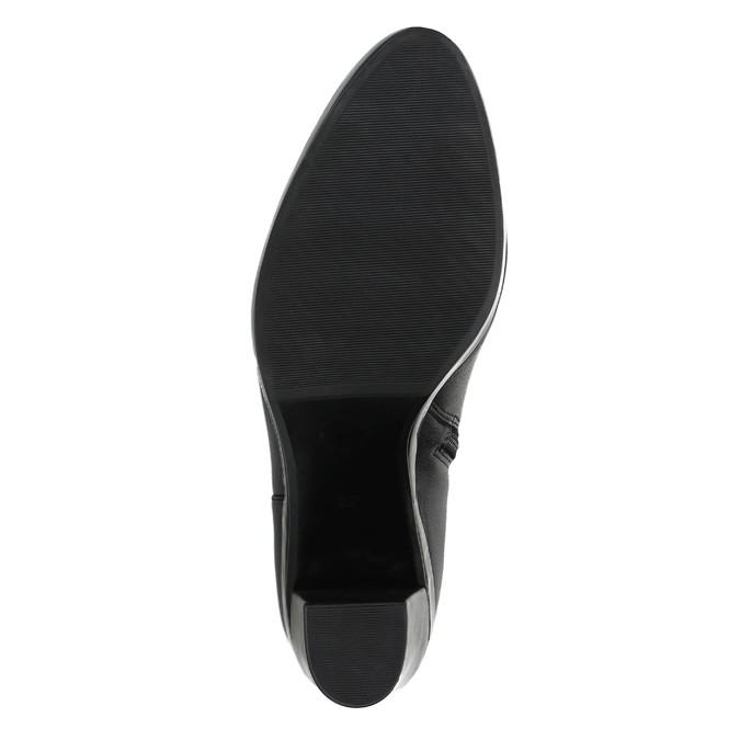 Kožená členková obuv na podpätku bata, čierna, 694-6632 - 26