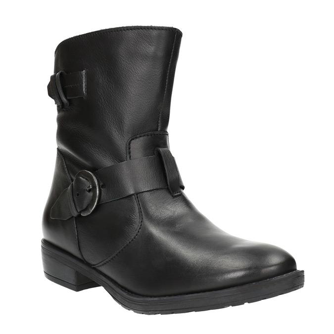 Dámske kožené čižmy s prackou bata, čierna, 596-6141 - 13