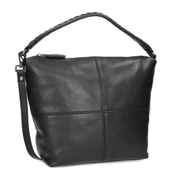 Kožená kabelka s odnímateľným popruhom bata, čierna, 964-6233 - 13