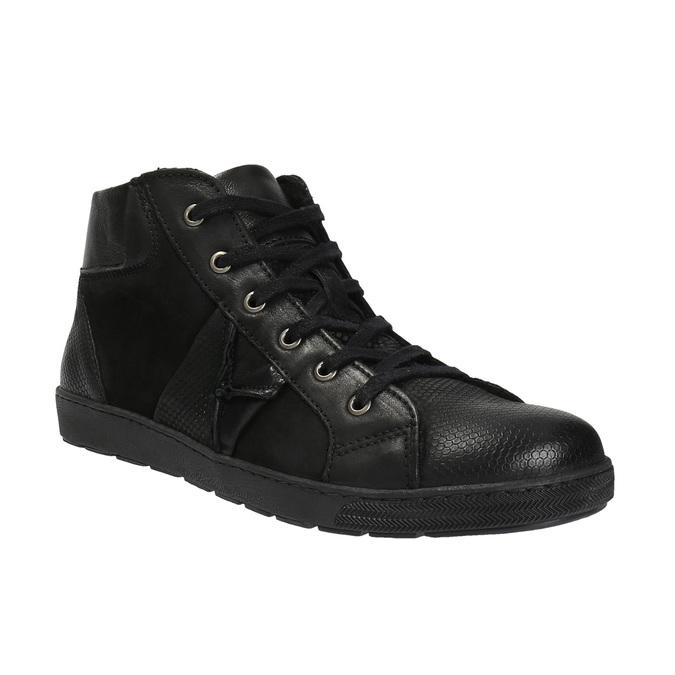 Kožená členková obuv pánska bata, čierna, 846-6602 - 13