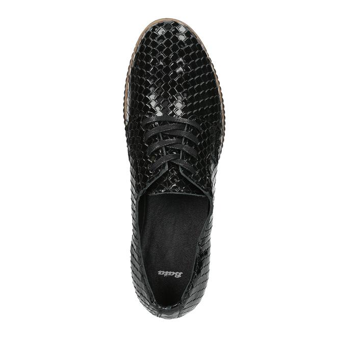 Ležérne kožené dámske poltopánky bata, čierna, 526-6613 - 19