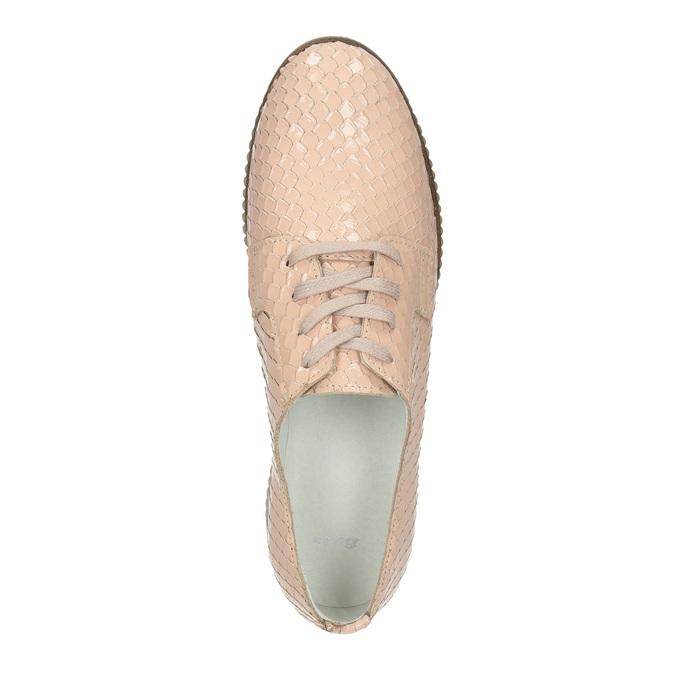 Dámske kožené poltopánky bata, ružová, 526-5613 - 19