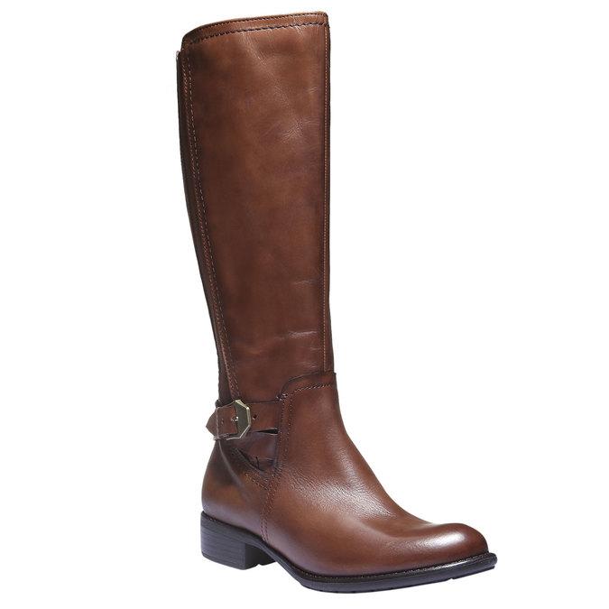 Kožené čižmy s prackou bata, hnedá, 594-4115 - 13