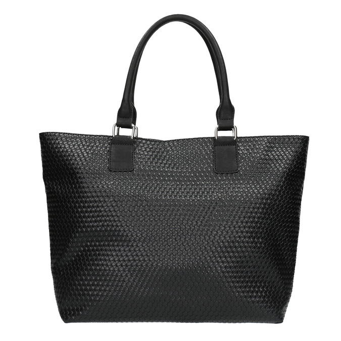 Dámska kabelka s prepleteným vzorom bata, čierna, 961-6651 - 26