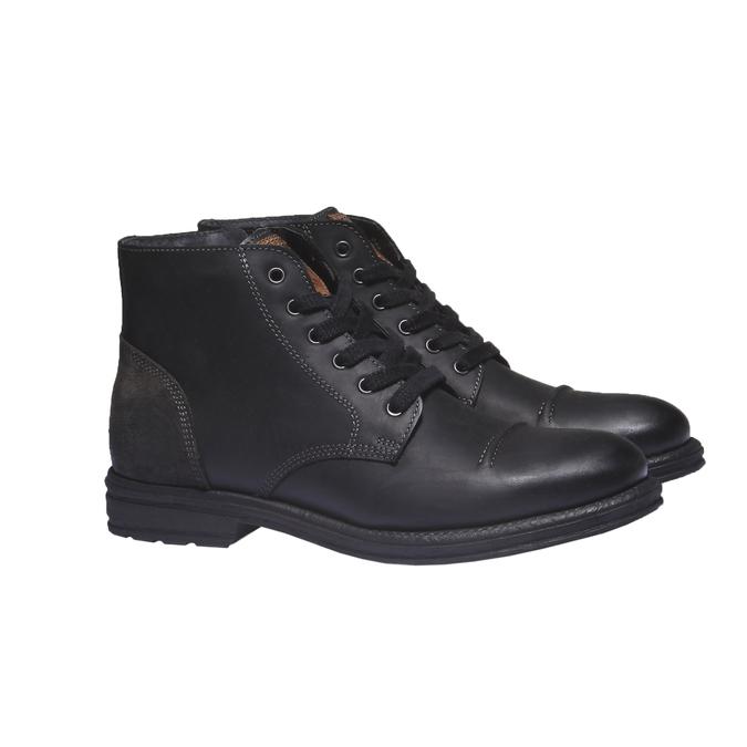 Ležérna kožená obuv bata, čierna, 894-6555 - 26