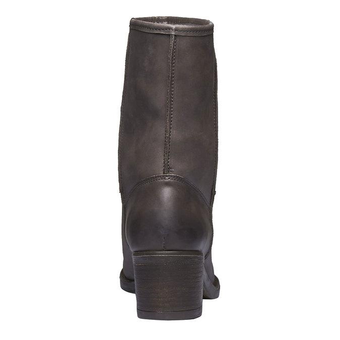Kožené čižmy s kožúškom bata, čierna, 696-6109 - 17